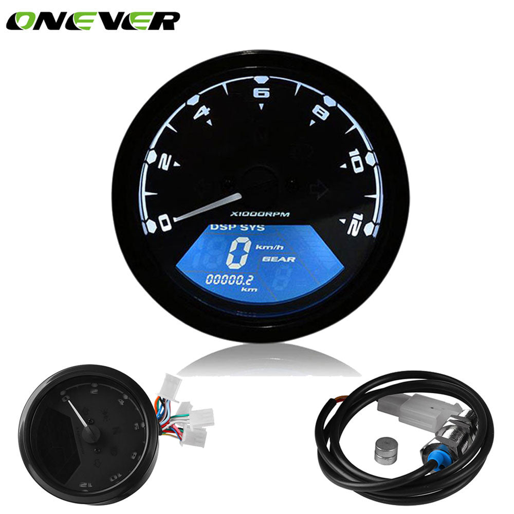 Universal Motorcycle Digital Speedometer LCD Backlight Odometer Tachometer Gauge Motorbike 12000RPM Alarm Function for Honda