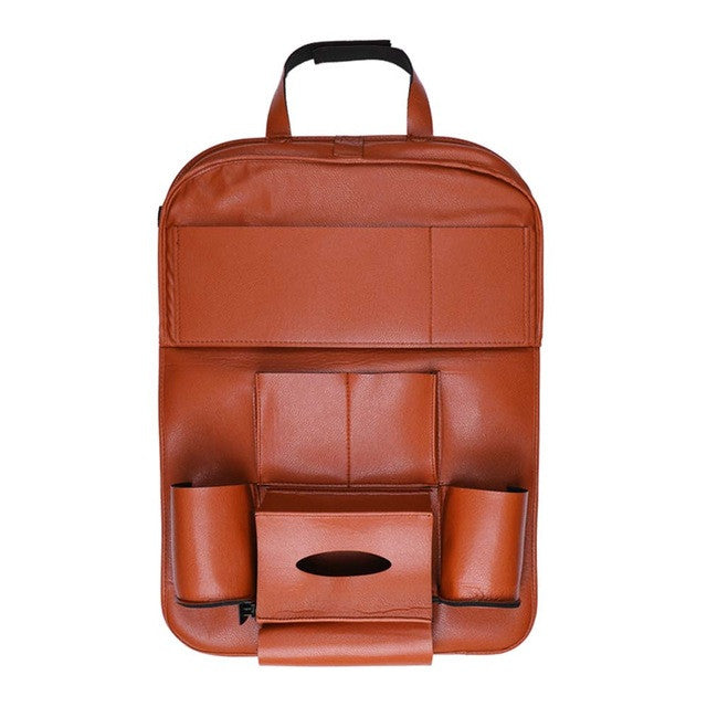 Onever High Quality PU Leather Auto Car Seat Back Organizer Bag Folding Shelf Multi-pocket Drink Holder Back Seat Hanging Bag