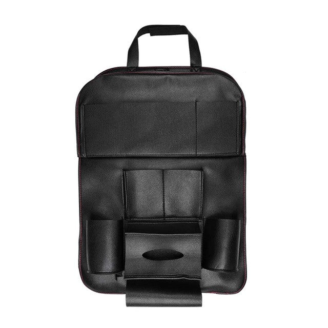 Copy of Onever High Quality PU Leather Auto Car Seat Back Organizer Bag Folding Shelf Multi-pocket Drink Holder Back Seat Hanging Bag