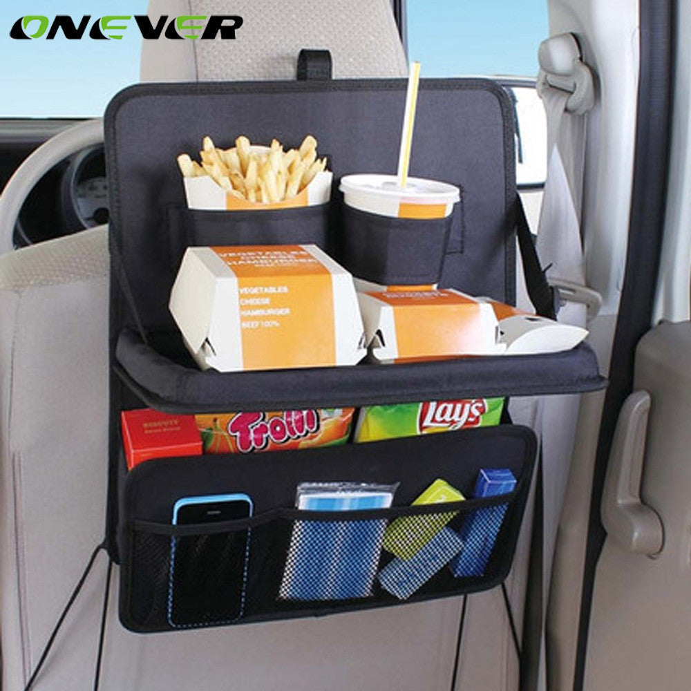 Onever Oxford Fabric Car Seat Back Organizer Bag Multi-pocket Folding Food Drink Cup Phone Pad Storage Holder Stand Hanging Bags