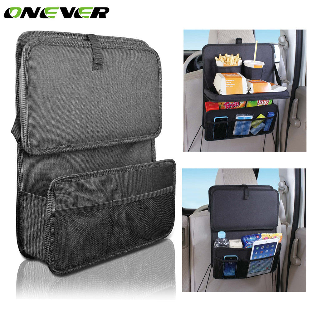 Onever Oxford Fabric Multi Pocket Storage Bag Car Seat Back Tray Table Holder Bag Foldable Auto Car Seat Organizer Handing Bags