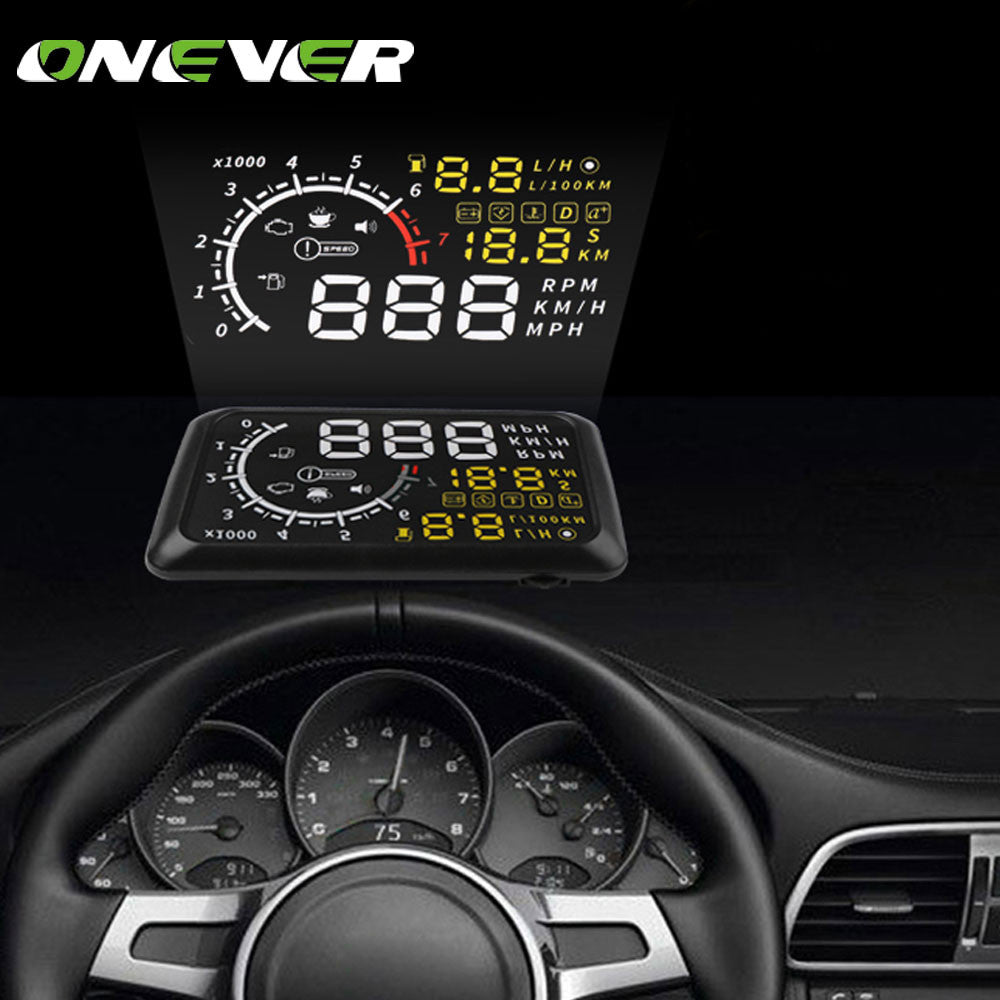 Onever 5.5'' OBDII Car HUD Head Up Display OBD2 Plug/Play Interface Windshield Projector Display KM/h,MPH,Overspeed Warning,Fuel
