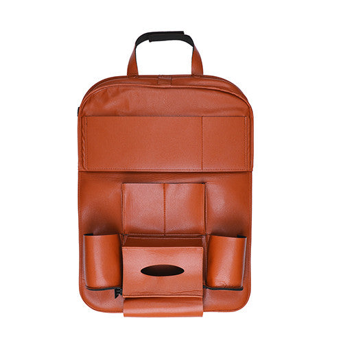 PU Leather Car Back Seat Organizer Pockets Folding Car Backseat Hanging Holder Storage Bags Car Tissue Bag For ipad Books Drink