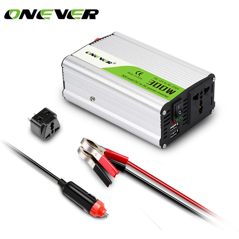 Onever 300W Car Power Inverter Converter DC 12V to AC 220V Modified Sine Wave Power with Dual USB 5V Output Car charger Inverter