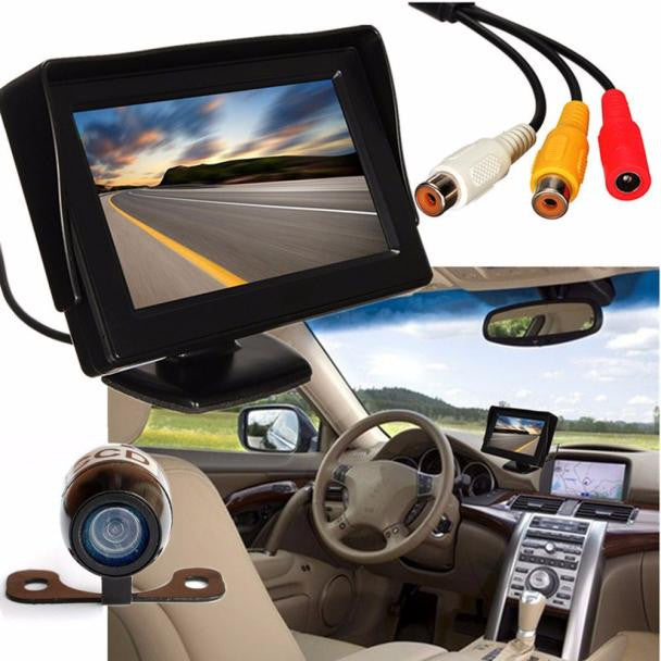 4.3'' LCD Car Rear View Monitor Night Vision Reverse Backup Camera Waterproof