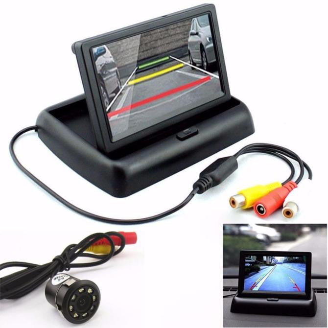 Car Rear View 170° 8LED Night Vision Camera & 4.3'' Foldable LCD Display Monitor