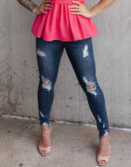 Some Button Loves Me Denim - button fly distressed denim skinny crops