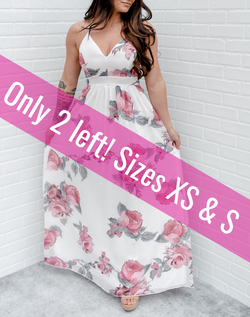 You'll Find a Place to Wear It Maxi Dress - white flowy maxi dress with pink and gray floral print and gray lace cutout back. only 2 left - sizes XS and small