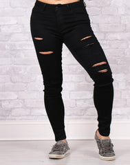 You're Simply Distressed Black Denim Skinnies