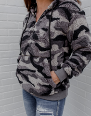 Winter Camo Sherpa - gray camo sherpa hoodie with kangaroo pocket