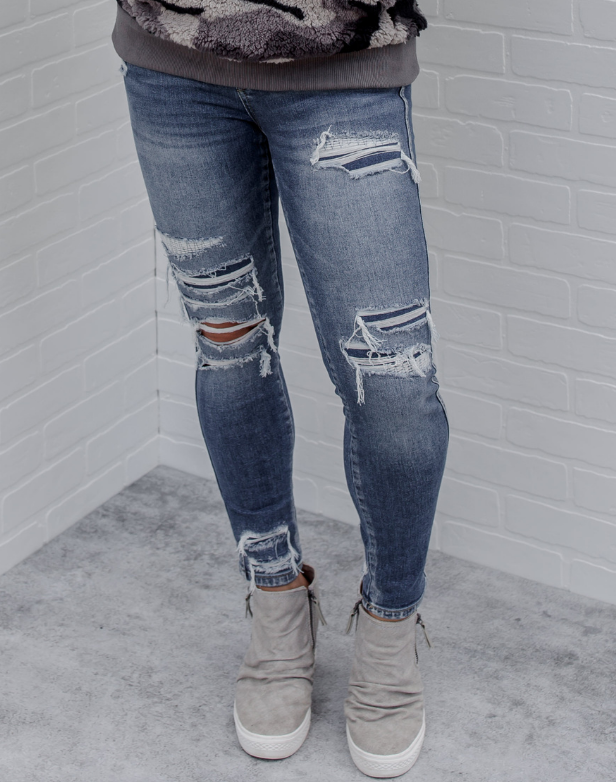Tamie Distressed Ankle Skinnies - distressed medium wash skinny jeans