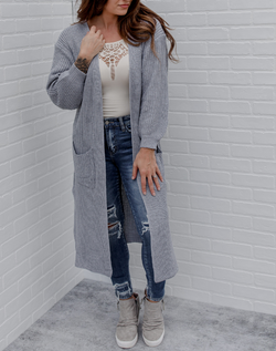 The Cool Girl Cardigan - gray long knit cardigan with pockets