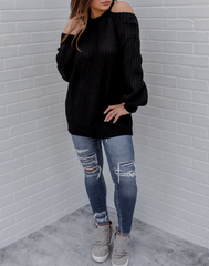 You Can Have It Both Ways Sweater - black oversized sweater with cutouts