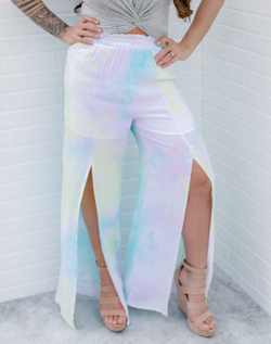 Take Me to Aruba Cabana Pants. green, teal, and purple tie dye cabana pants with front slits.