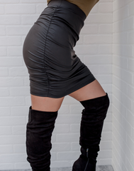 Don't Be Ruche Black Matte Skirt - black matte faux leather skirt with side and back ruching