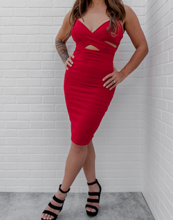 Don't Cross Me Midi Dress in Red - red criss cross top midi dress with tummy cutouts