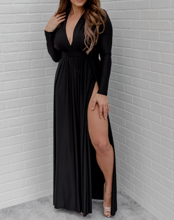 Fleeing the Castle Maxi - Midnight Black. long sleeve black maxi dress with deep v neckline and thigh high slits