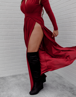 Fleeing the Castle Maxi - Deep Red. long sleeve deep red maxi dress with deep v neckline and thigh high slits