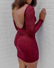 Glitterally Obsessed Wine Dress - glittery burgundy mini dress with long sleeves, open back, and ruched booty