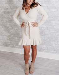 I Do What I Want Cream Sweater Dress - cream sweater dress with crossover neckline and fluted skirt