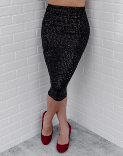 Luxe Be a Lady Sequin Midi Skirt - black sequined high-waist midi skirt
