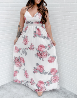 You'll Find a Place to Wear It Maxi Dress - white flowy maxi dress with pink and gray floral print and gray lace cutout back