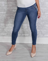 I'm Knot Shore Medium Wash Denim - medium wash high waist skinny jeans with sailor buttons