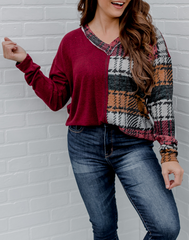 Split Decision Plaid Top - burgundy long sleeve top with plaid panel and sleeve