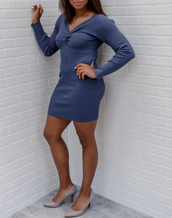 Out of the Blue Ribbed Sweater Dress - long sleeved blue sweater dress