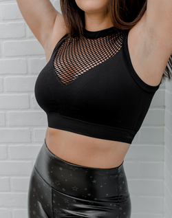 Out of the Cage Sports Bra - black high neck sports bra with fishnet panels on the front and back