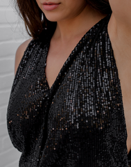 Side Show Sequin Top - black sequined top with open sides and back