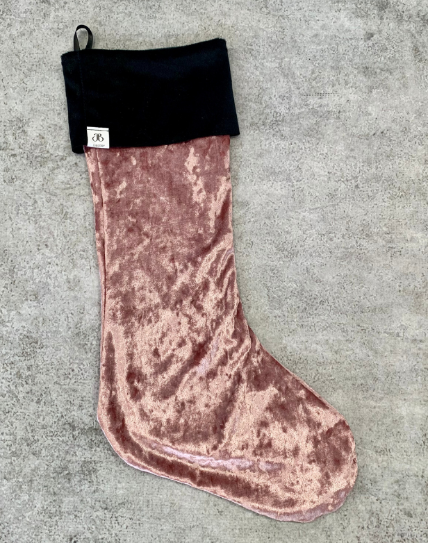 Handmade Exclusive Rebellia Stocking from Juberry. rose gold velvet stocking with black trim