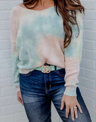 Sherbet Twist Sweater - rainbow tie dye twist sweater