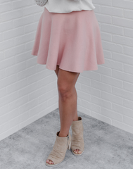 Rose Luxe Sweater Skirt - light rose sweater knit skater skirt