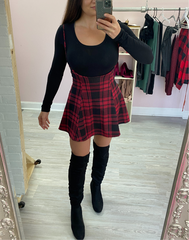 Too Cool for School Plaid Jumper - black and  red plaid skirt with skinny suspenders