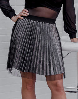 Touch of Glam Tulle Skirt Black - glittery pleated skirt with black tulle overlay