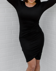 Up for Anything Long Sleeve Dress - Black. long sleeve black dress with ruched tulip skirt