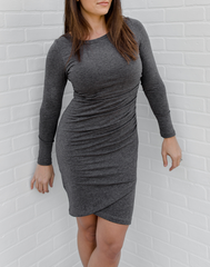 Up for Anything Long Sleeve Dress - Charcoal. charcoal long sleeve dress with a ruched tulip skirt