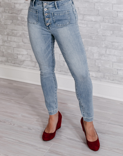 Weekend Vibes Button Fly Denim - light wash jeans