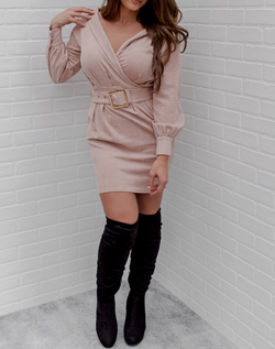 What Does the Faux Say Suede Dress - blush faux suede dress with long bubble sleeves and belt.