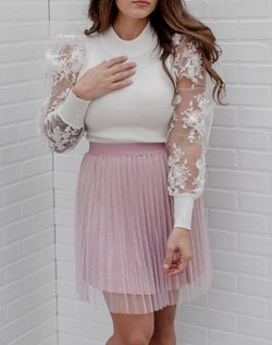 Winter Fantasy Mock Neck Sweater - white mock neck ribbed sweater with mesh lace sleeves