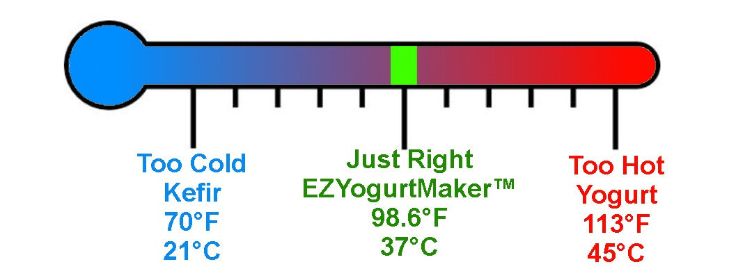 EZYogurtMaker cultures at the perfect temperature - not too hot or too cold.