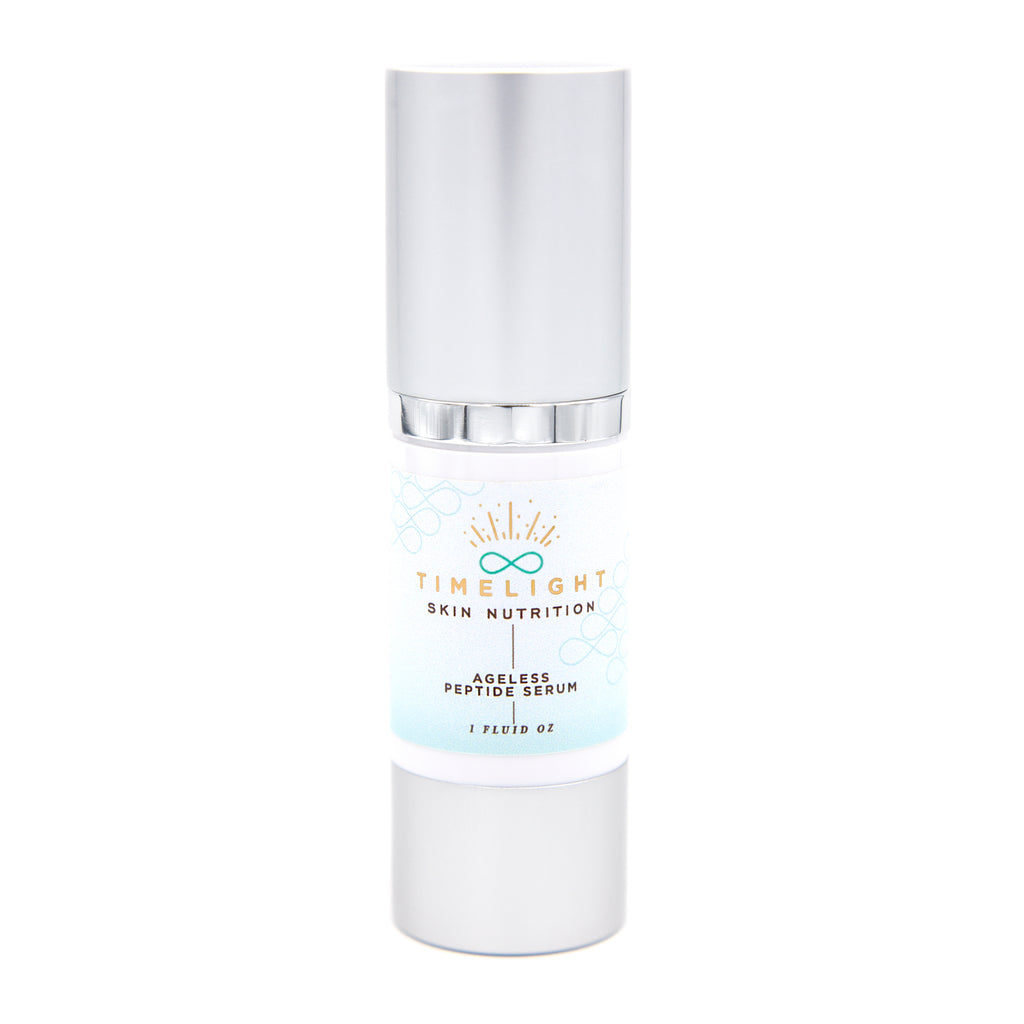 Ageless Peptide Serum is a hydrating, creamy serum that turns on the collagen receptors in your skin cells, smoothing fine lines and relaxing deep wrinkles.