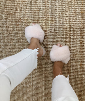 Rose Sheepskin Slippers