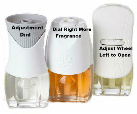 Plugin Air Freshener Fragrance Adjustment Dial Locations