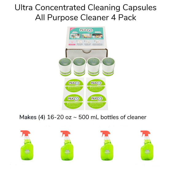 KlicO Eco-Friendly Ultra Concentrate Cleaner Refill Capsules 4 Pack Multi-Purpose Makes 4 500 ML / 16.9 OZ Bottles