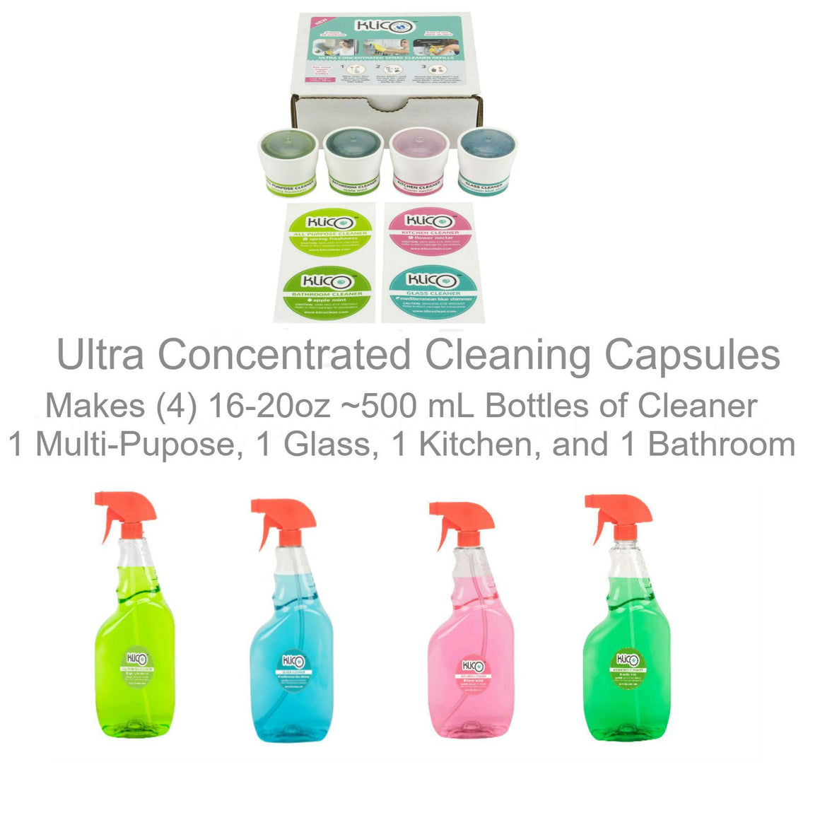 KlicO Eco-Friendly Ultra Concentrate Cleaner Refill Capsules 1 each; Multi-Purpose, Window, Kitchen, and Bathroom with 1 Trigger Spray Bottle