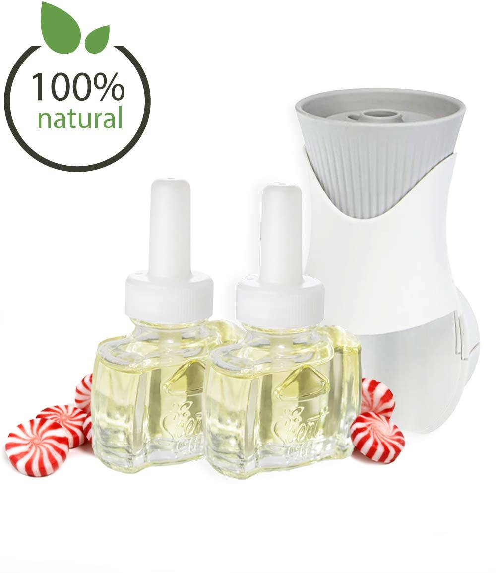 NEW - Air Wick® Plug In Scented Oil Warmer Starter Kit with 2 Scent Fill®100% Natural Peppermint Refills