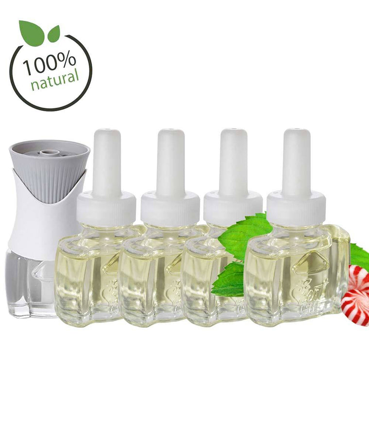 Air Wick Plug In Scented Oil Warmer Kit with 4 100% Natural Peppermint refills