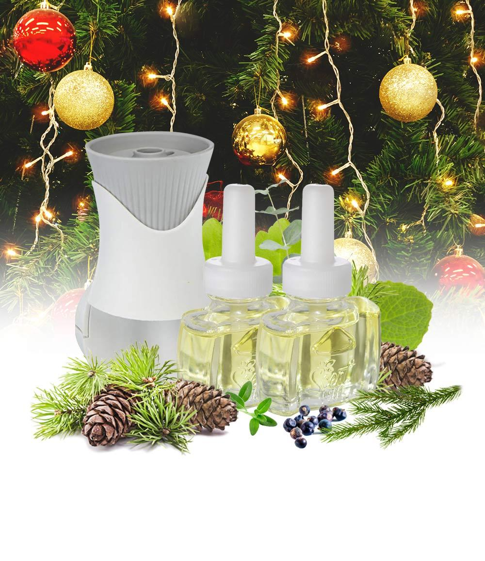 NEW - Christmas Tree Plug In Air Freshener Kit (1) Fraser Fir Balsam (1) Sycamore Fir and (1) Air Wick Scented Oil Warmer